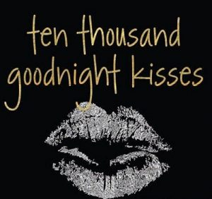 Romantic good night kiss