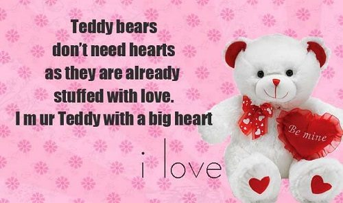 pink teddy bear with quote