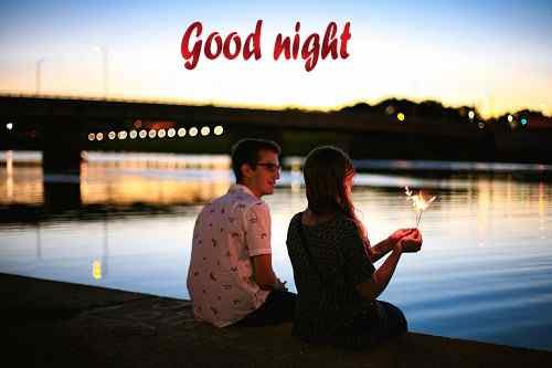cute couple pic with good night image