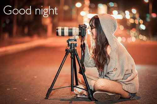 cute girl image with good night
